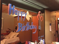 Birthday wishes from our cabin steward (towel monkey also hanging from ceiling)