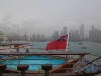 From the stern of the ship overlooking Singapore Harbour