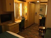 Inside stateroom, view from twin bed