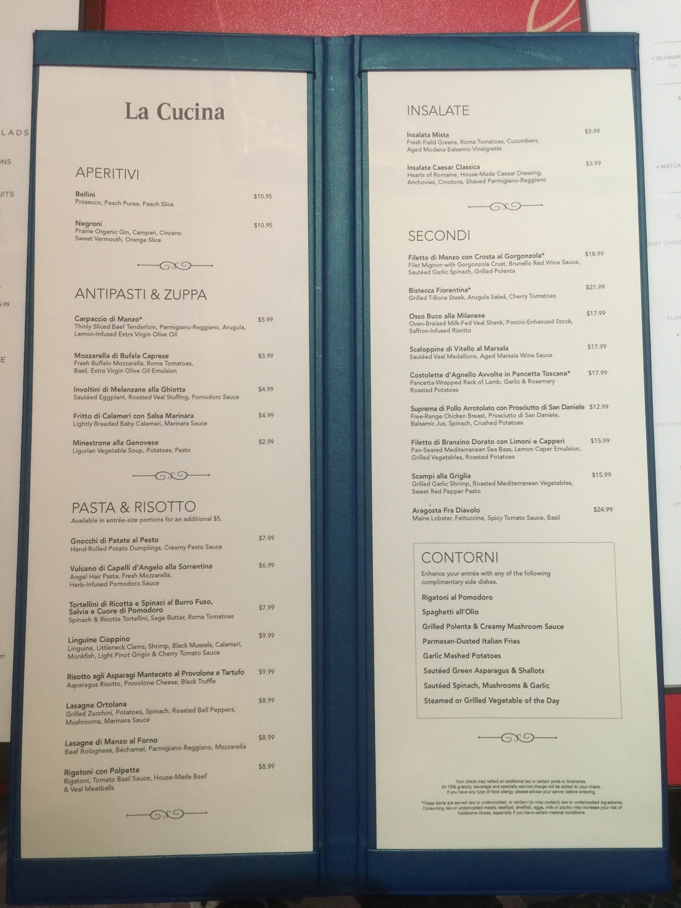 Restaurant bar lounge food on norwegian breakaway for Menu cucina