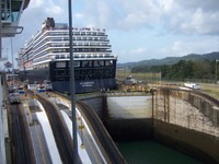 On the Jewel preparing to go up in a lock in the Panama Canal.