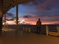 Watching the sunset from deck 4