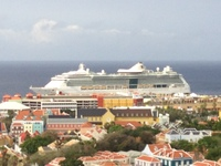 View of the ship from bridge in Curacao