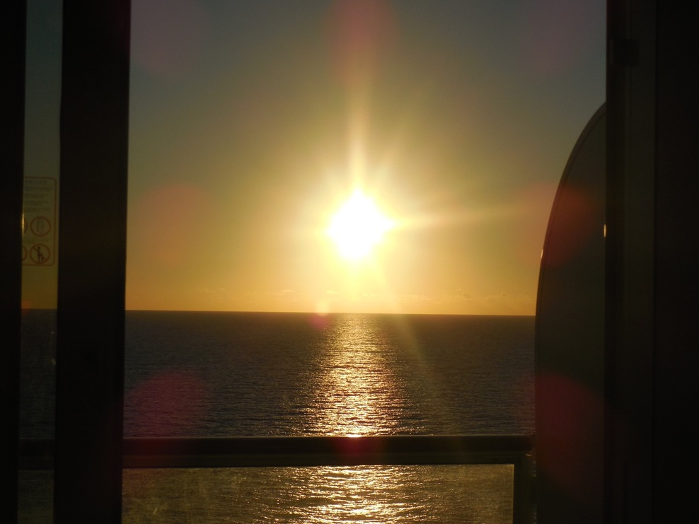 Sunset thru balcony door