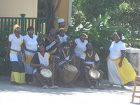 Local group performing in Mahogany Bay shopping area