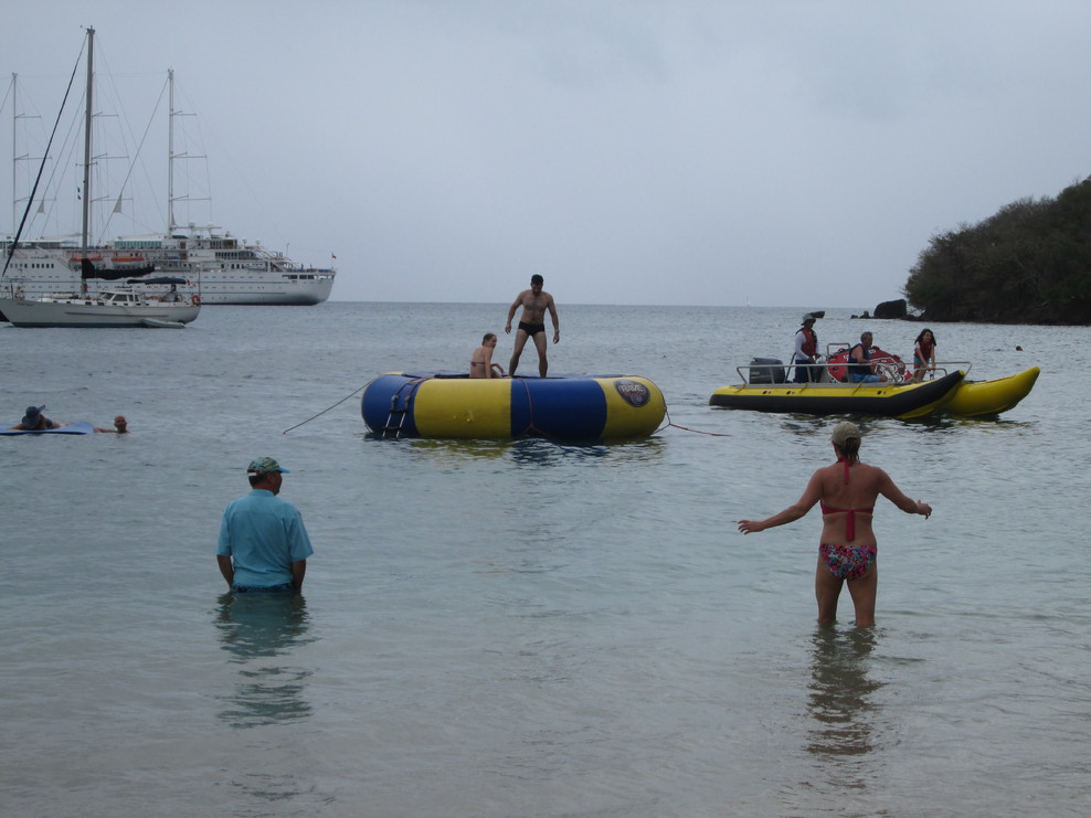 There was lots to do on shore for the Island Experience, and the swim platf