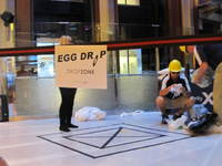 The drop zone in the lobby. Creative passengers were able to successfully drop eggs