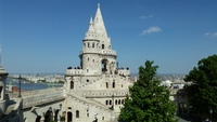 Fishermans Bastion in Budapest - this was the view from our room at the Hil