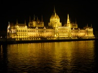 Budapest parliament cruise at night down the river.  Bring your blanket