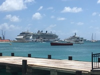 St.Maarten with the Eclipse yacht in foreground.