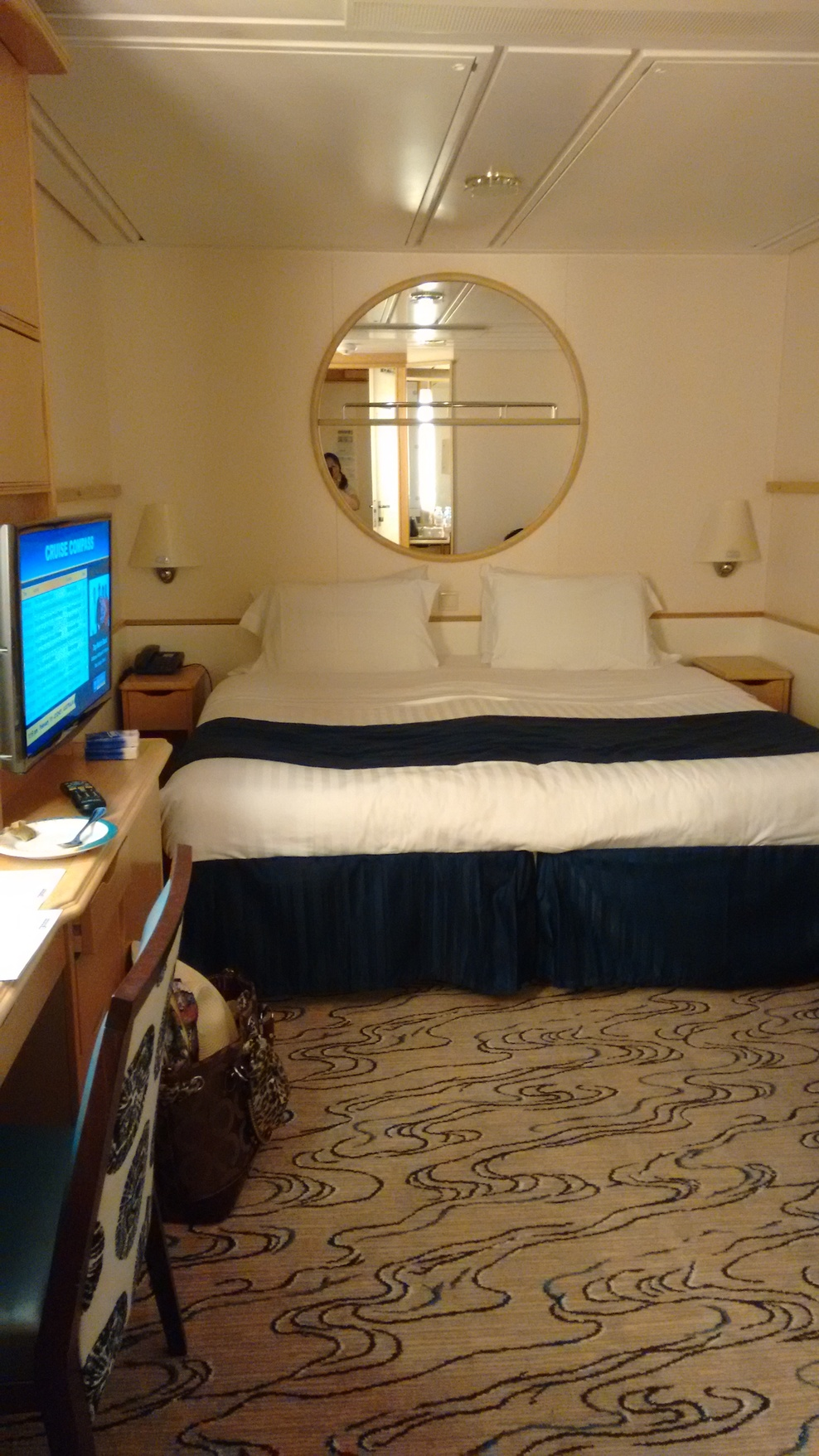 Our cabin, we booked separate twin beds bit got Queen bed and never separated