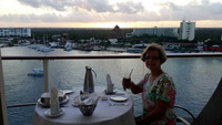 Breakfast on our balcony overlooking Cozumel!