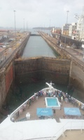 Going through the locks entering the Panama Canal.