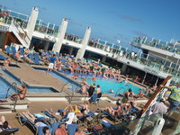 the busy pool/daytime entertainment area.