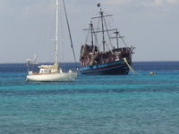 view of boats in the Caribbean from Cozumel shore