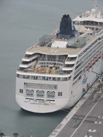 Norwegian Spirit berthed at Port Canaveral. Taken on helicopter trip