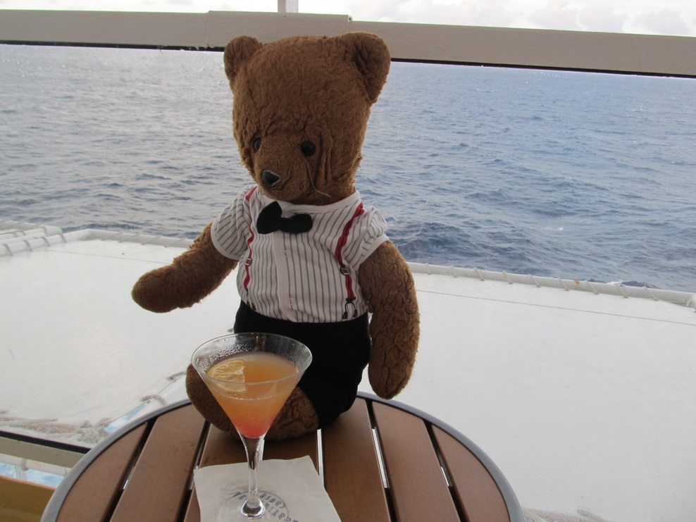 Jeffrey D. Bear enjoying an evening Cosmopolitan.