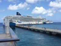 Norwegian Dawn docked in Cozumel.