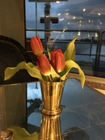 Fresh flowers everywhere on ship. Lovely