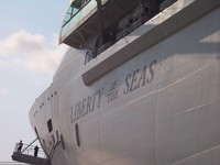 The Liberty of the Seas from our tender boat.