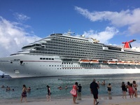 View of the ship from the beach in Grand Turk