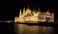 Budapest at night from our ship