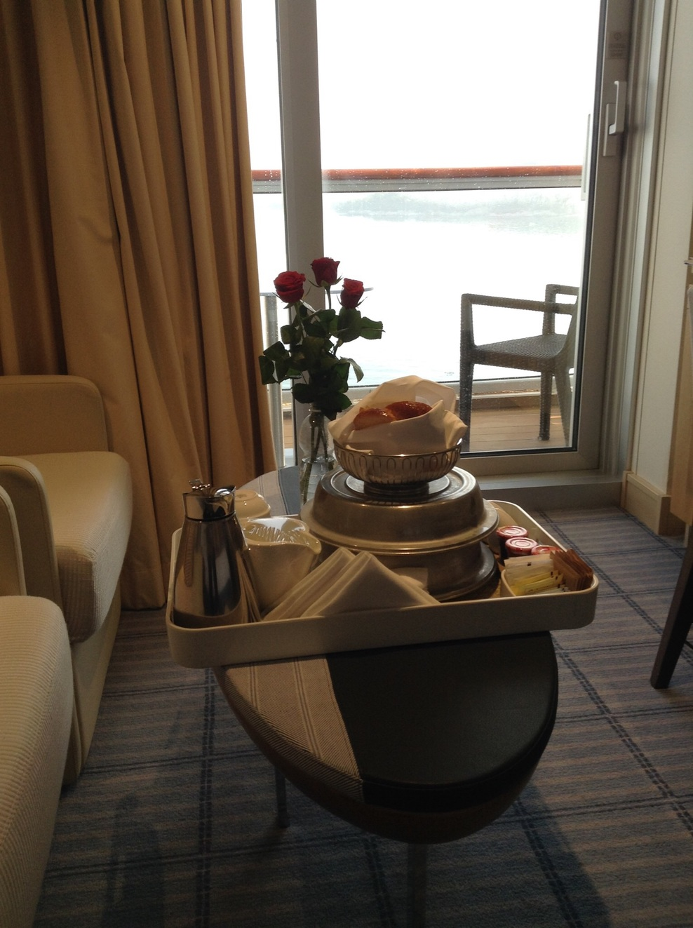 Our first morning aboard was a restful room service delight.