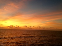 sunrise somewhere off the northeast coast of Cuba