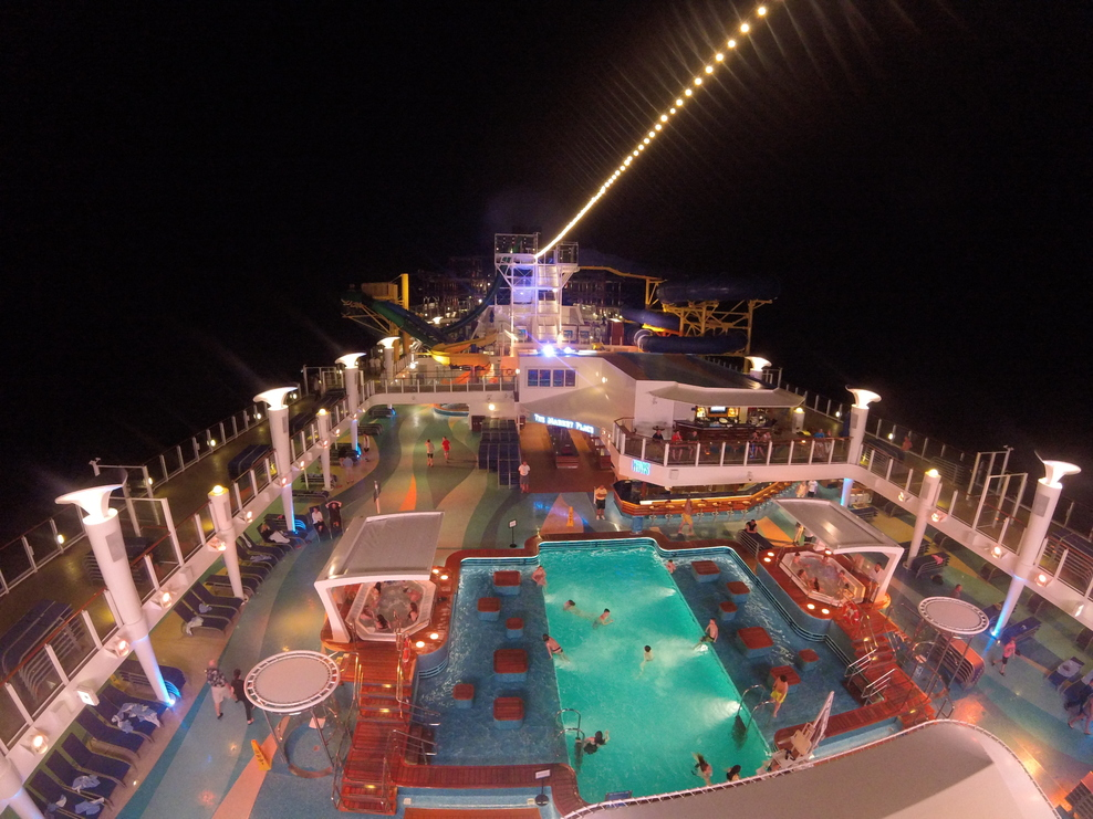 The ship at night was beautiful!