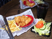 fish, chips and salad at The Pantry