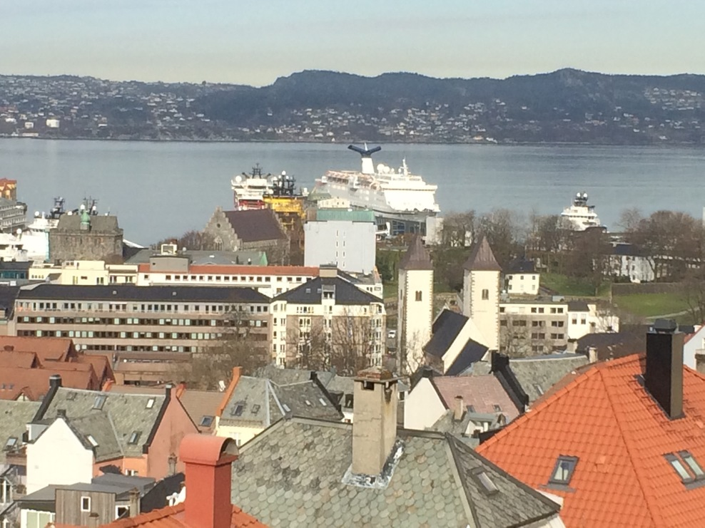 Ship seen from top of Bergen