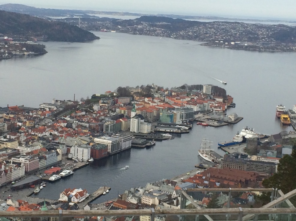 View of Bergen from funicular railway