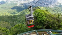 Cable car ride up the mountain in Amber Cove, DR