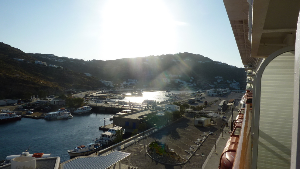 A view across Mykanos from cabin 6042 balcony.
