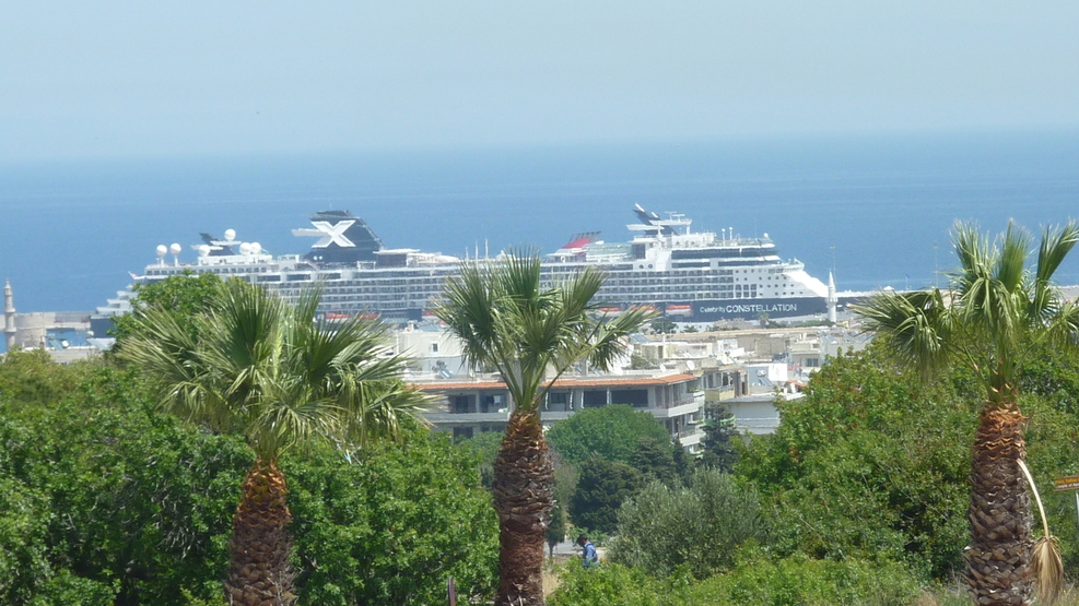 A view of the ship from Rhodes