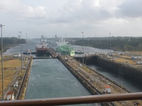 Ships entering Gatun Locks, Panama Canal