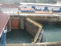 Two of three locks at Gatun Locks, Panama Canal
