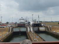 Looking back from the rear of the ship to the 3 levels of the canal locks