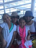 My son, daughter in law and granddaughters being Tendered to the island.