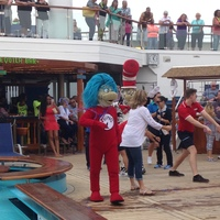 Thing 1 and Thing 2 dancing on Lido Deck