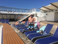 This was taken around the pool on a day when the ship was in port