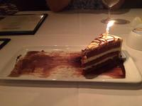 A birthday treat (and song) from the waitstaff at Chops Grille.