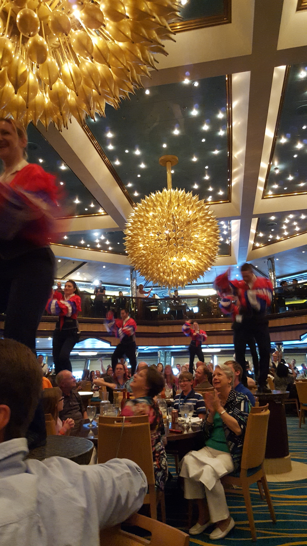 Another fun shot of the waiters entertaining us - food was good but service...