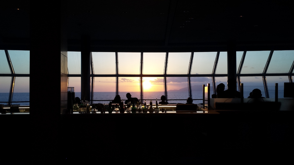 Many happy sunsets and happy hours with our cruise buddies in the Reflection!