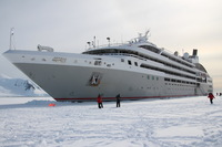 Passengers were able to disembark directly onto the sea ice for Champagne on Ice in Hanusse Bay.