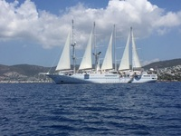 Anchored in Bodrum, swim deck open for water sports.
