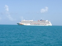 The ship from one of the Tenders in Belize