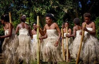 Picture at Vanuatu with the ekasup village ladies dancing