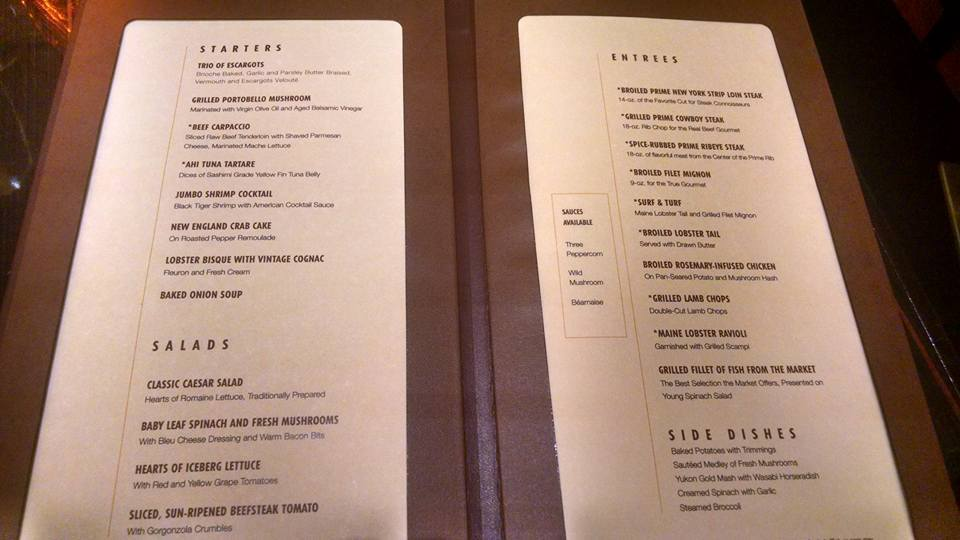 menu for steakhouse carnival vista cruise ship cruise critic