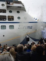 Claudine Pepin breaking  champagne bottle to christen the MS Sirena, 27 Apr